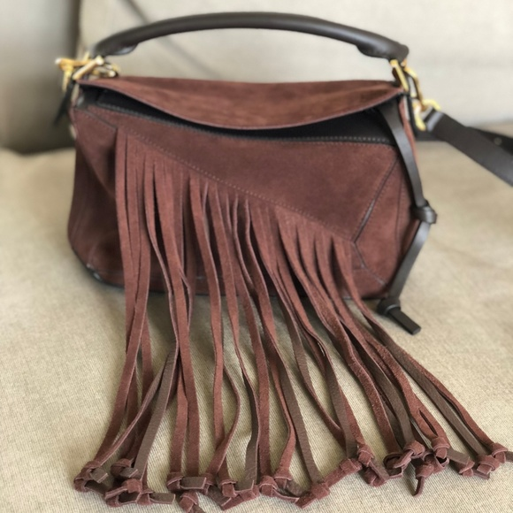Loewe Bags   Puzzle Bag With Fringe Luxurious Suede   Poshmark 657a72c440